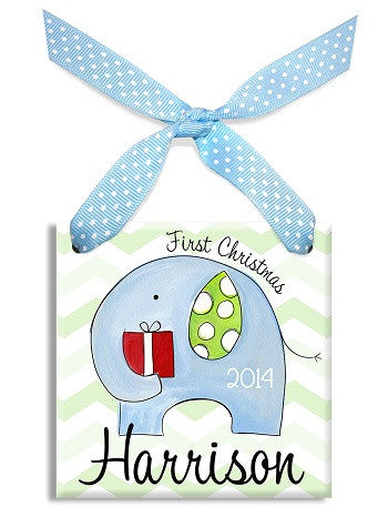 Personalized First Christmas Elephant Boy Ornament