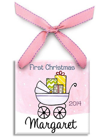 Personalized First Christmas Girl Ornament