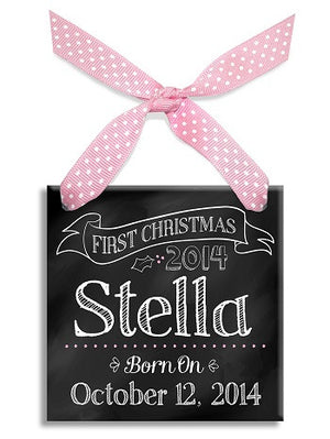 Personalized First Christmas Girl Chalkboard Ornament