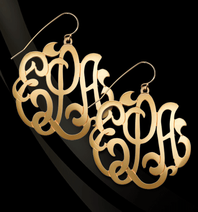 Large Script Monogram Earrings