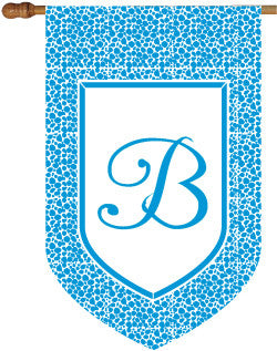 Monogrammed Leopard Blue House Flag