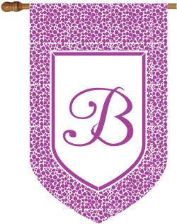 Monogrammed Leopard Purple House Flag