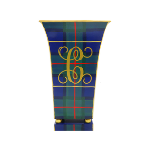 Green & Blue Plaid Fluted Cachepot