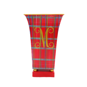 Red Plaid Fluted Cachepot