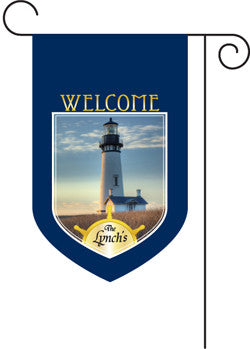 Monogrammed Lighthouse Garden Flag