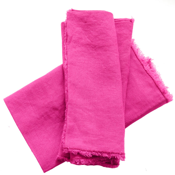 Fringed Stone Washed Set of 4 Fuchsia Dinner Napkins