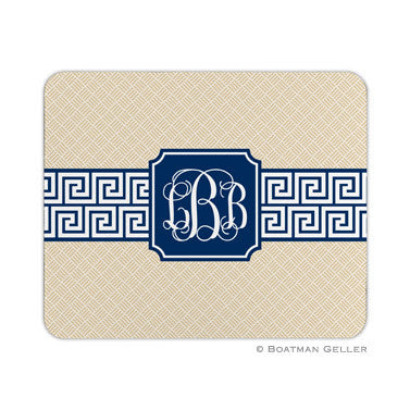 Greek Key Band Navy Mouse Pad