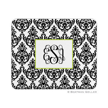 Madison Damask White with Black Mouse Pad