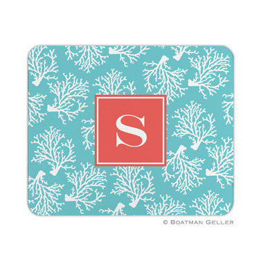 Coral Repeat Teal Mouse Pad