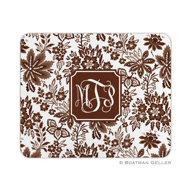 Classic Floral Brown Mouse Pad