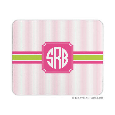 Seersucker Band Pink & Green Mouse Pad