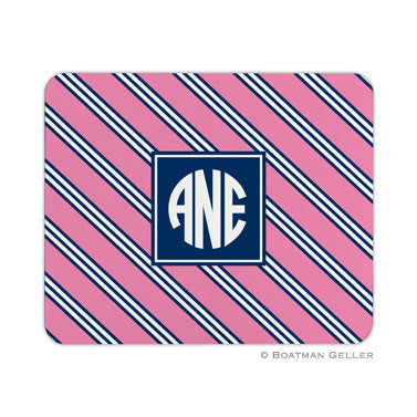 Repp Tie Pink & Navy Mouse Pad