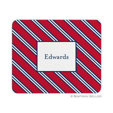 Repp Tie Red & Navy Mouse Pad