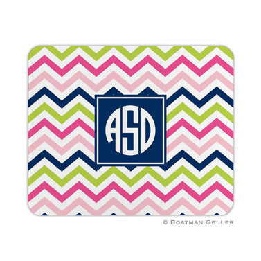 Chevron Pink, Navy, & Lime Mouse Pad