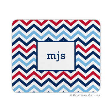 Chevron Blue & Red Mouse Pad