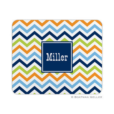 Chevron Blue, Orange, & Lime Mouse Pad