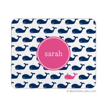 Whale Repeat Navy Mouse Pad