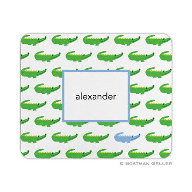 Alligator Repeat Blue Mouse Pad