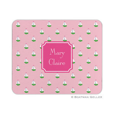 Little Sailboat Pink Mouse Pad