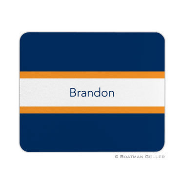 Stripe Navy & Tangerine Mouse Pad