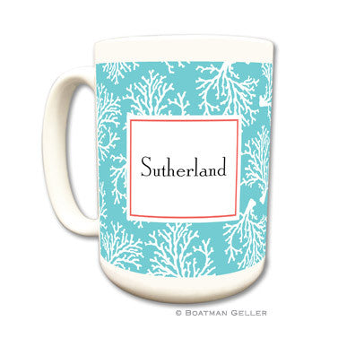 Coral Repeat Teal Mug