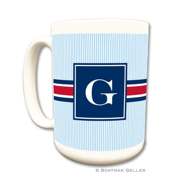 Seersucker Band Red & Navy Mug