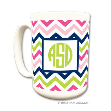 Chevron Pink, Navy & Lime Mug
