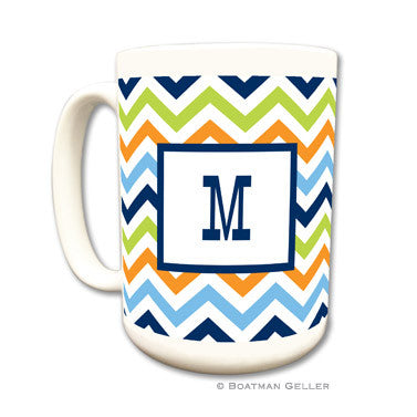 Chevron Blue, Orange, & Lime Mug
