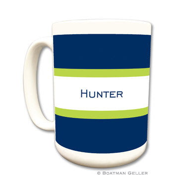 Stripe Navy & Lime Mug