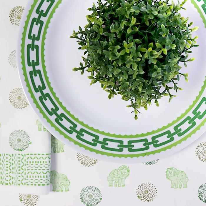 Lime Green Chain Dinner Melamine Plates S4