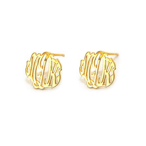 14k Gold Cheshire Handcut Monogram Post Earrings