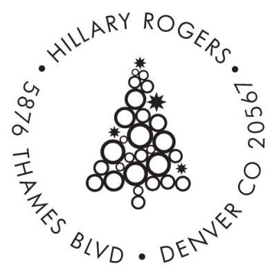 Christmas Tree Circles Address Stamp