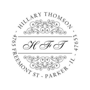 Scrolled Monogram Address Stamp