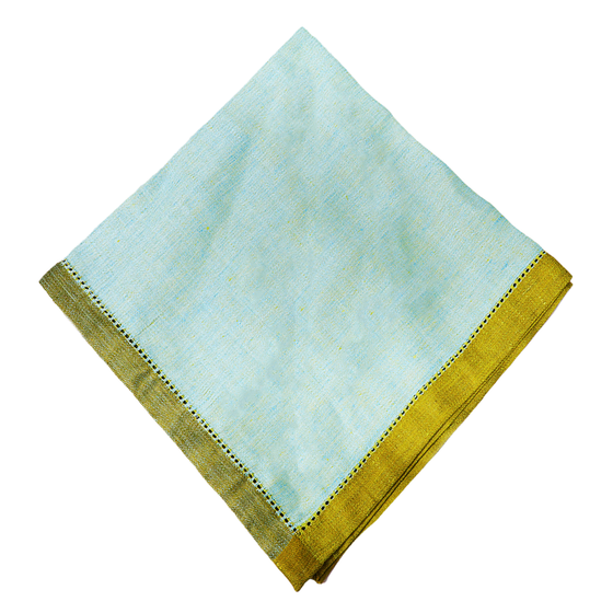 Set of 4 Sea Glass & Gold Napkins