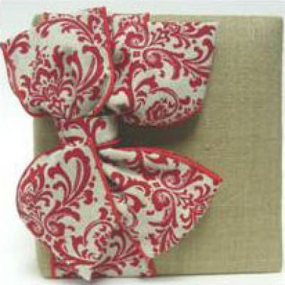 Natural Linen & Red Damask Album