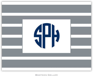 Nautical Stripe Gray & White Foldover Note