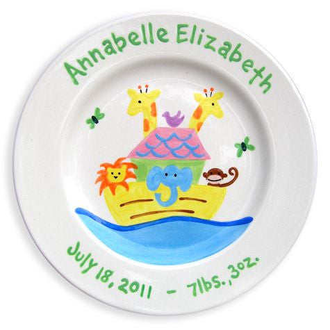 Personalized Noah's Ark Plate (Girl)