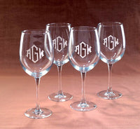 Monogrammed Crystal Wine Glasses