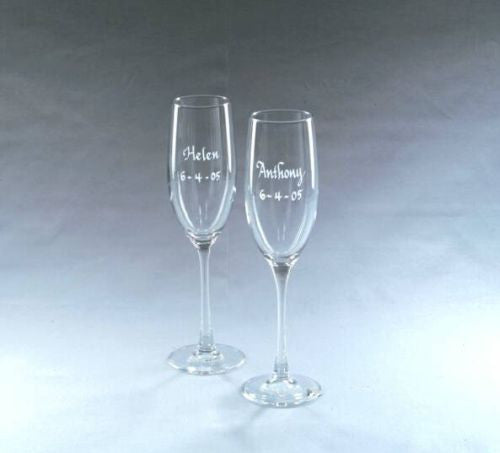 Monogrammed Pair of Classic Crystal Flutes