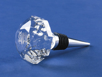 Monogrammed Crystal Faceted Bottle Stopper