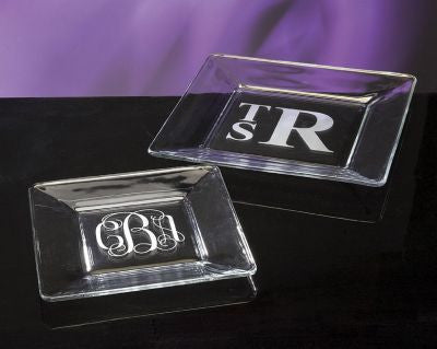 Monogrammed Square Glass Plates
