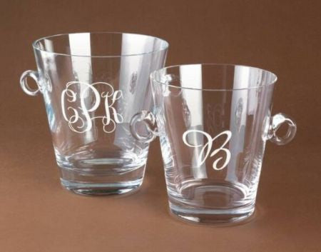 Monogrammed Crystal Champagne Cooler and Ice Bucket
