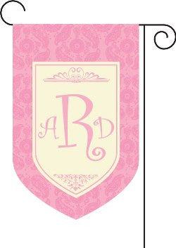 Monogrammed Paisley Pink Garden Flag