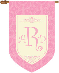 Monogrammed Paisley Pink House Flag