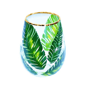 Palm Print & Gold Stemless Wine Glass