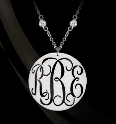 Pierced Monogram on CZ Chain