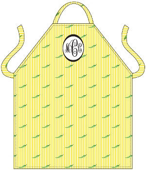 Monogrammed Green Peppers Apron