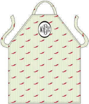 Monogrammed Red Peppers Apron