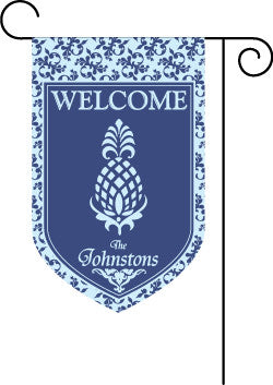 Monogrammed  Pineapple Blue Garden Flag