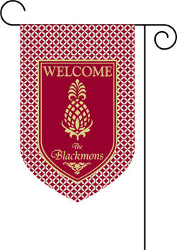 Monogrammed  Pineapple Burgundy Garden Flag